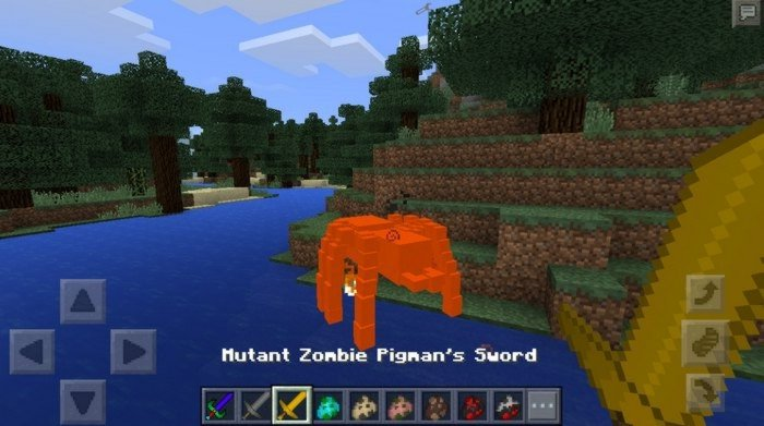 Mutant spider start burning by hit of Pigman's sword