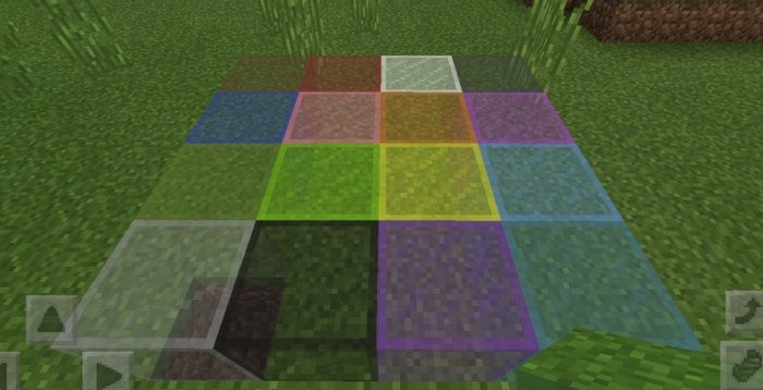 All 16 blocks of colored glass