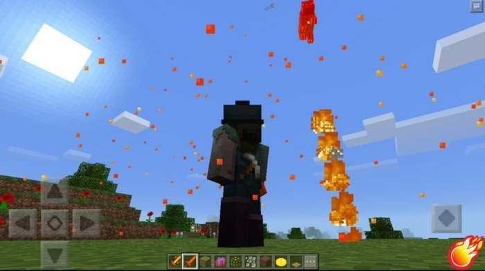 Mob launched in the air using the power of Lava sword