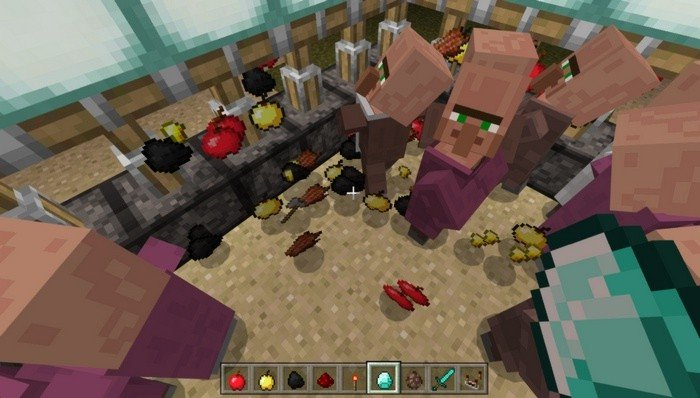 Trade items for random stuff with villagers in Pocket Edition