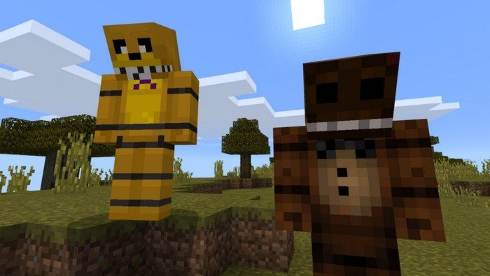 Freddy Fazbear and Golden Freddy in Minecraft 0.16.2