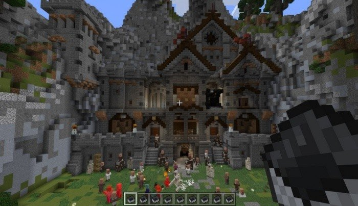 Defend castle from zombies in Minecraft PE 0.16.2 map
