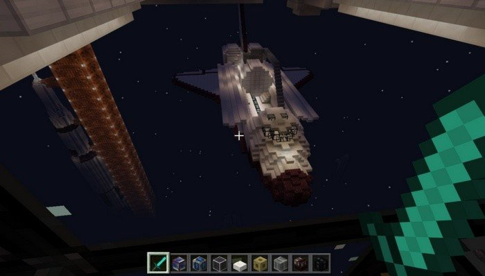 View on the outer space in Minecraft