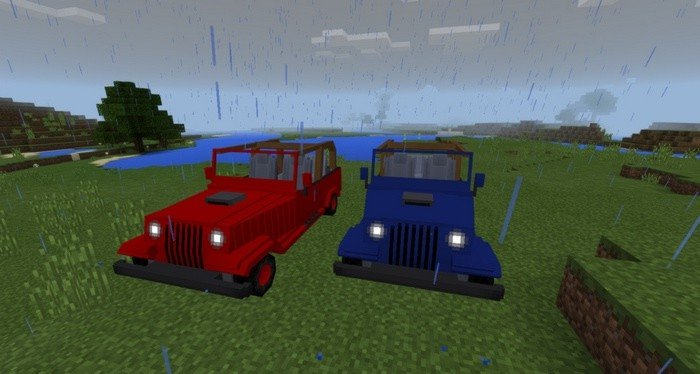 Jeeps in blue and red colors