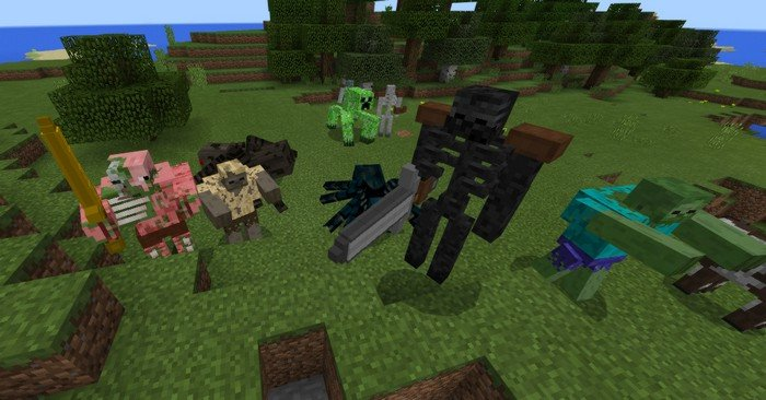 Mutant mobs of all kinds in the addon for MCPE