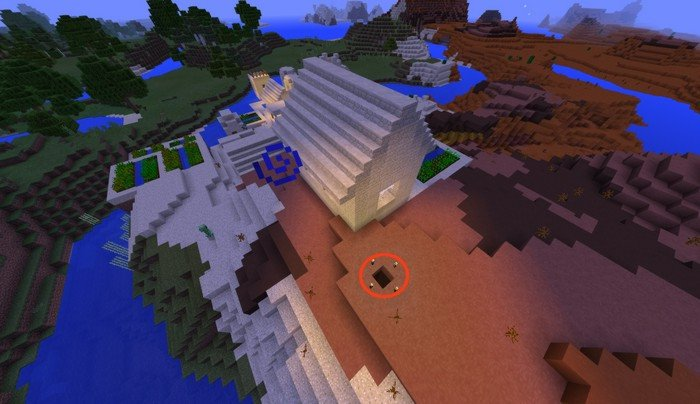 Sand village and stronghold seed for Minecraft PE