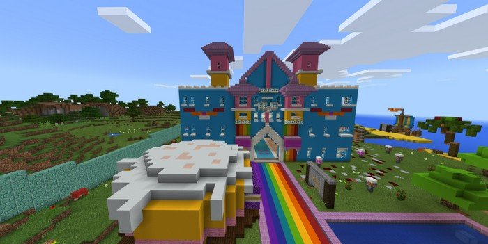 Rainbow Castle Map For Minecraft Pe 1 2 0